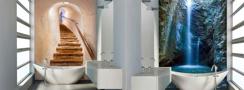 Акцентная стена с эффектом перспективы для маленькой ванной идеи дизайна ванной