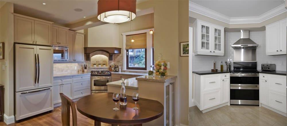 Акцент на плиту с помощью вытяжки, света и цветового контраста идеи интерьера кухни