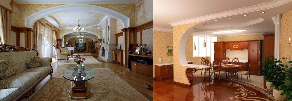 Арки в гостиной Ар Нуво интерьер гостиной комнаты