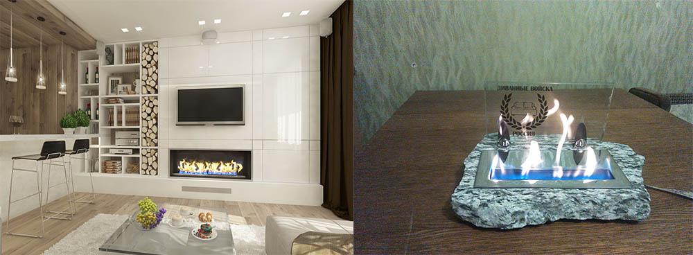 Прелесть пламени в дизайне биокаминов эко гостиная-экостиль в интерьере квартиры фото