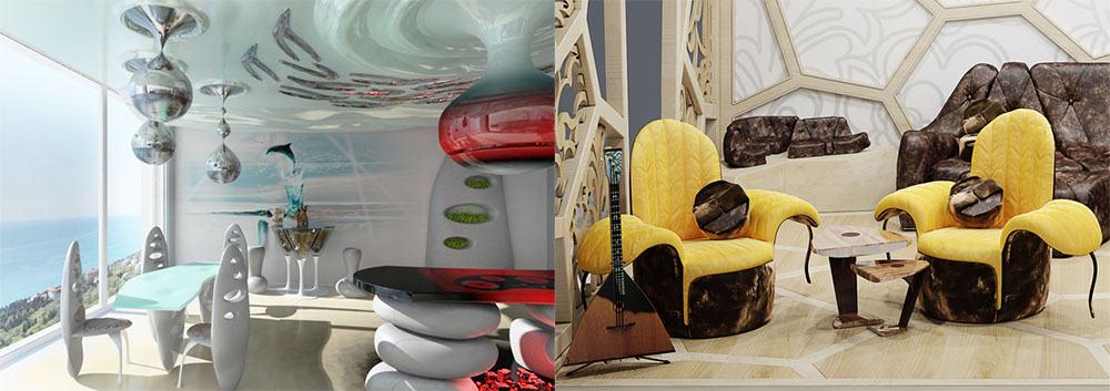 Новая интерпретация модерна стиль Бионика интерьер гостиной комнаты