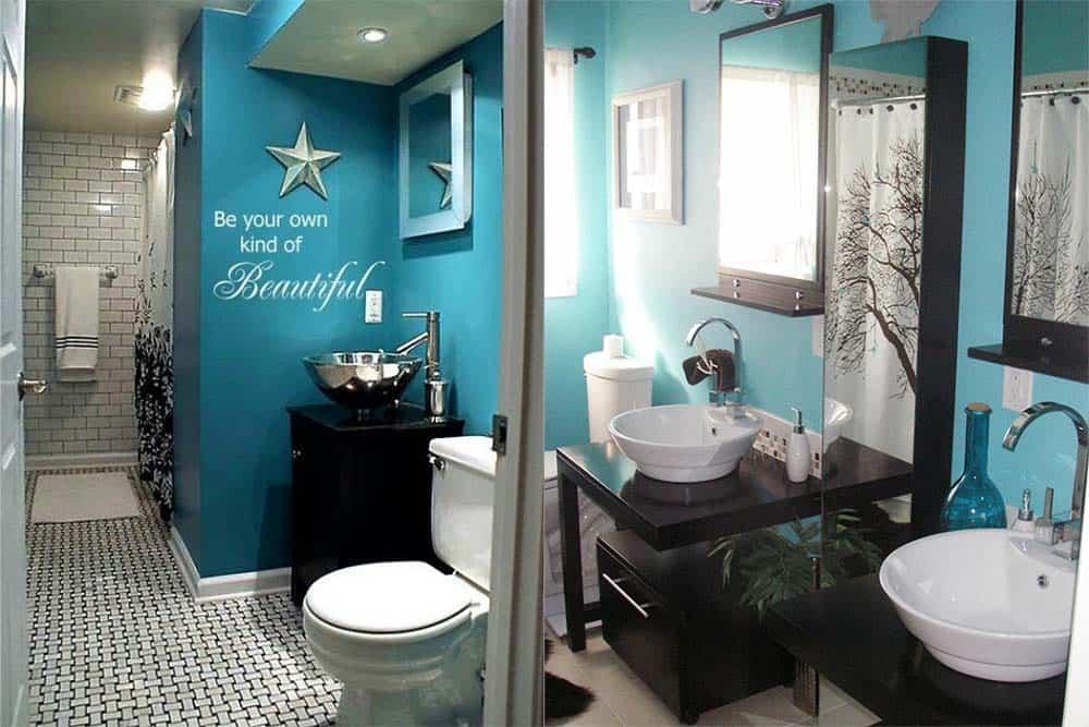 Стильная бирюзовая ванные варианты оформления Синяя ванная