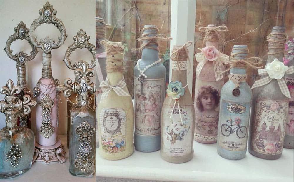 Прелестные бутылочки в стиле шебби шик идеи дизайна интерьера
