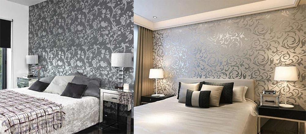 Винтажные обои прием отражения цветов дизайн спальни 2018