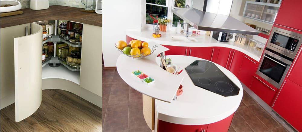 Дизайн угловых кухонь 2018 с вогнутым вовнутрь смежным углом