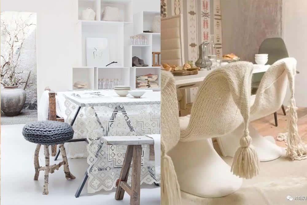 Вязаная обивка и чехлы для стульев дизайн интерьера столовой