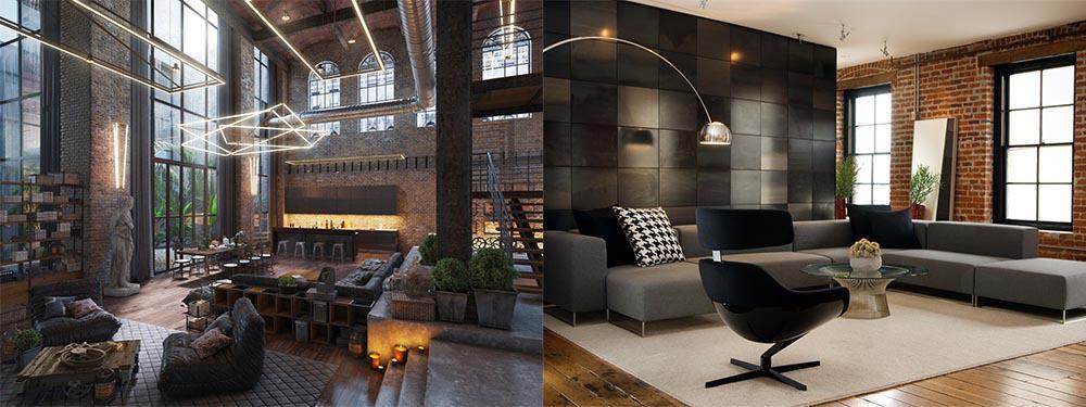 Варианты и идеи оформления индустриальной гостиной Гостиная в стиле лофт