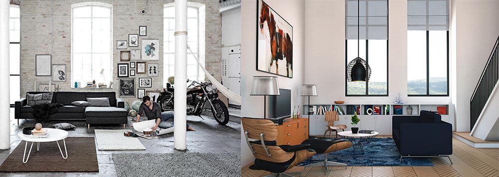 Стильная трендовая индустриальная гостиная Гостиная в стиле лофт
