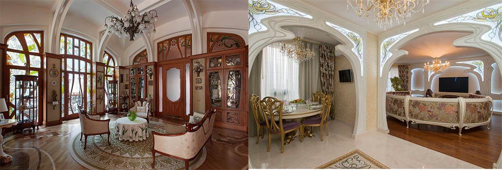 Прекрасные трендовые гостиные в стиле Ар Нуво Гостиная в стиле модерн