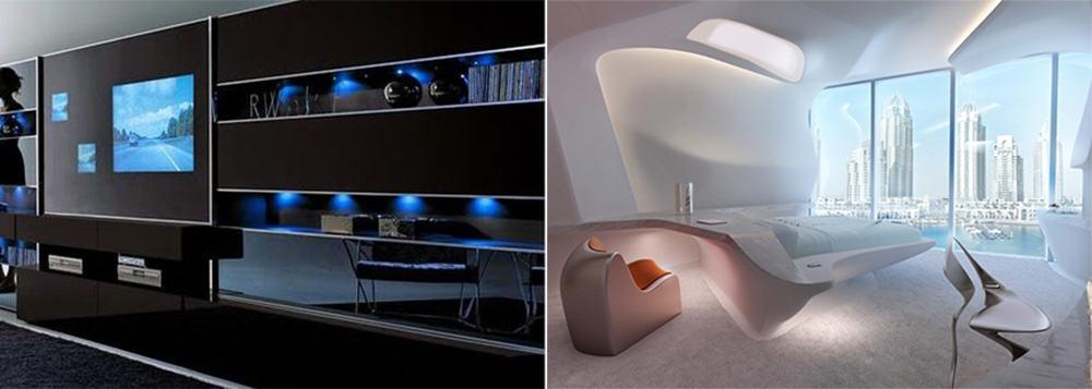 Трендовая футуристическая высокотехнологичная гостиная комната Гостиная в стиле хай тек