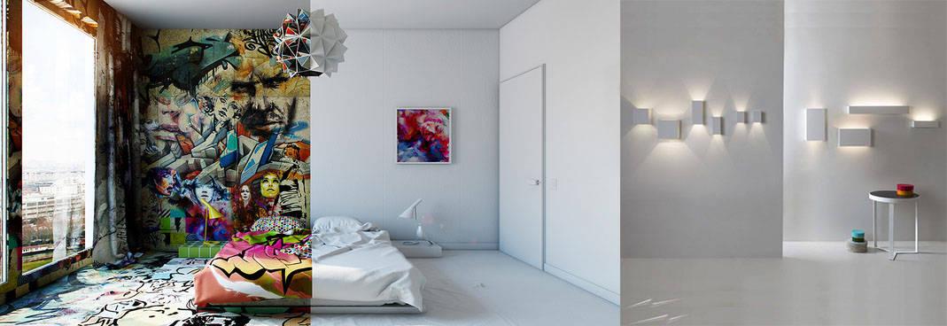 Граффити и геометрические лампы для белой спальни интерьер спальной комнаты