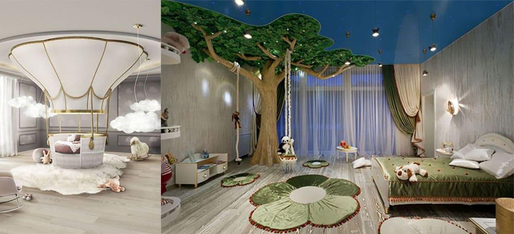 Декор с подвесными игровыми конструкциями и необычной кроватью дизайн детской комнаты