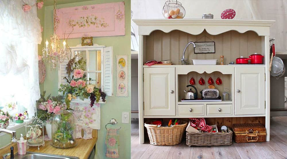 Декор ретро кухни посудой и цветами идеи дизайна кухни