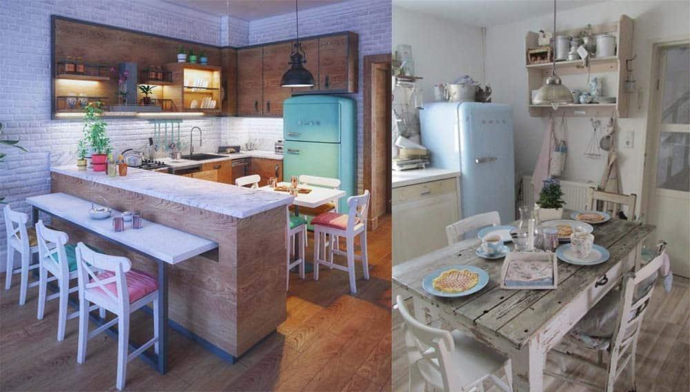 Деревянная мебель для ретро кухни Ретро кухня