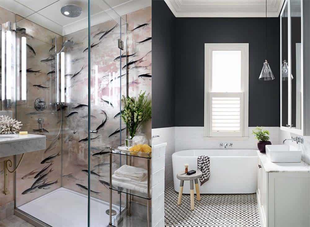 Белая ванная комната: дизайн с панно, кафелем и др 92