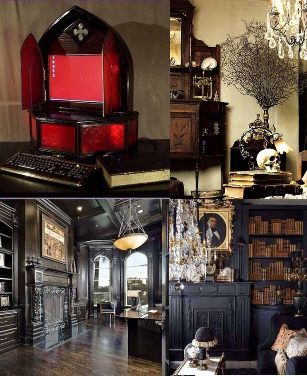 Домашний кабинет в готическом стиле Дизайн офиса 2018