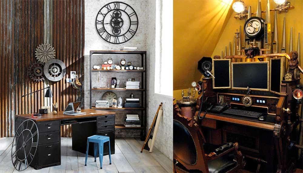 Домашний кабинет в стиле стимпнак дизайн интерьера офиса