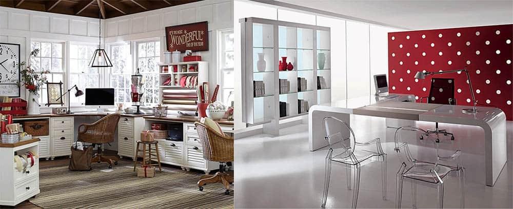 Домашние кабинеты в стиле кантри и хай-тек дизайн интерьера офиса