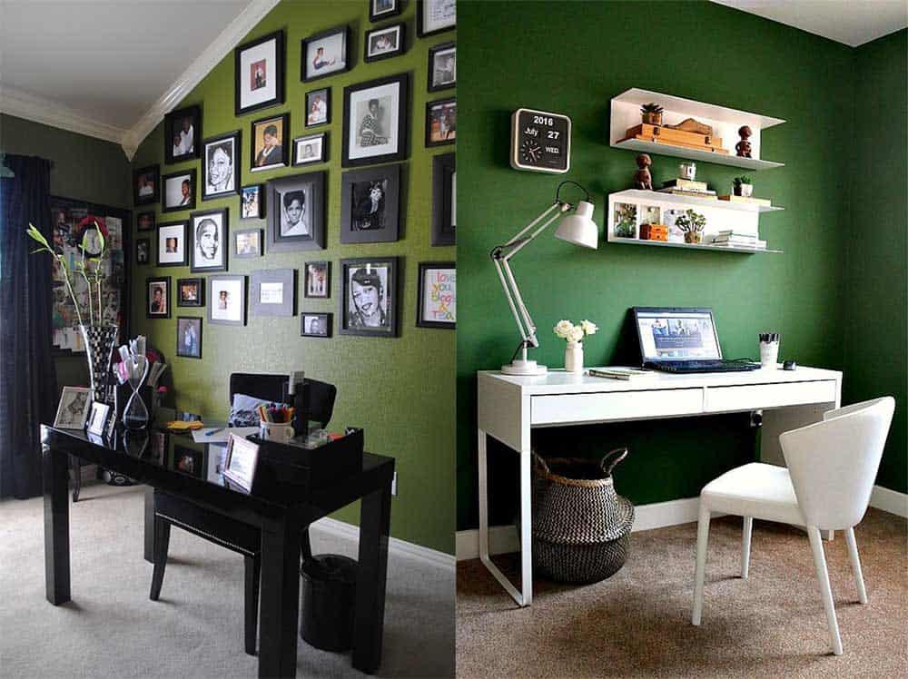 Оттенки зеленого и варианты дизайна Зеленый офис
