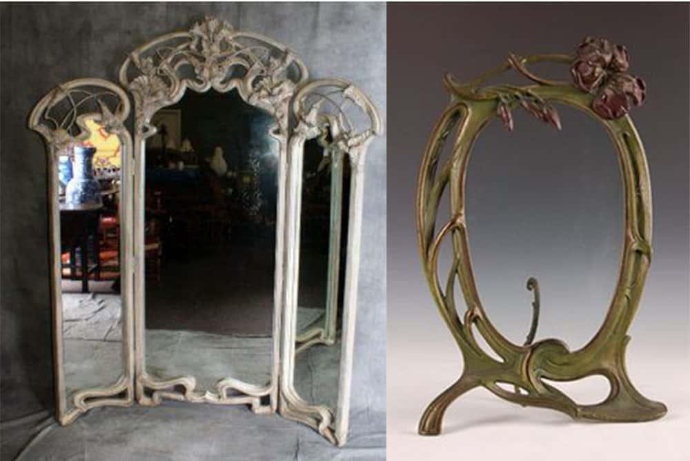 Зеркала в стиле Ар Нуво интерьер гостиной комнаты