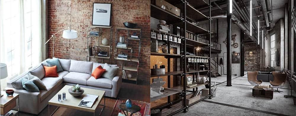 Индустриальные элементы в декоре мебели дизайн гостиной комнаты