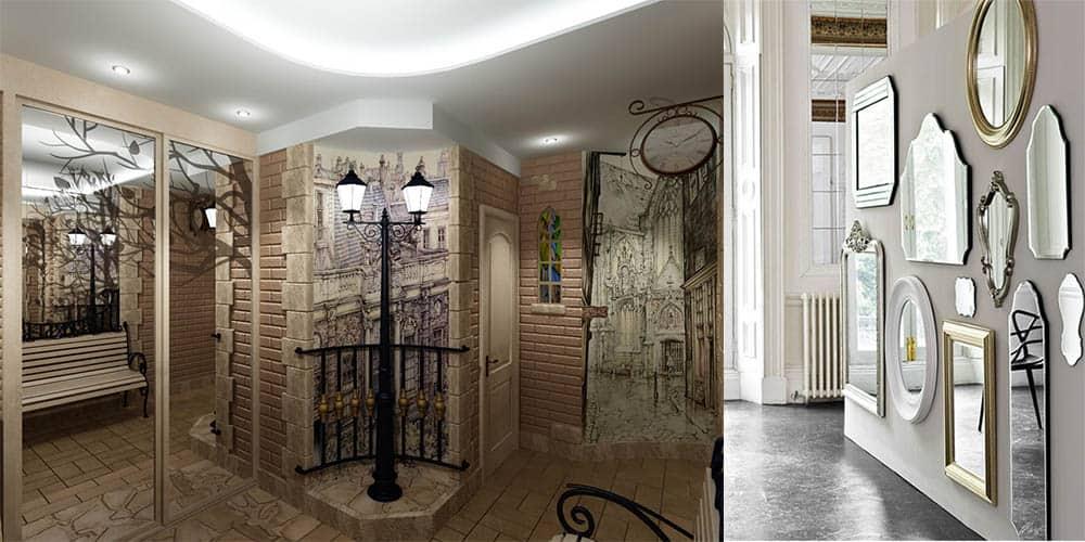 Использование зеркал для иллюзий в прихожей интерьер прихожей 2018