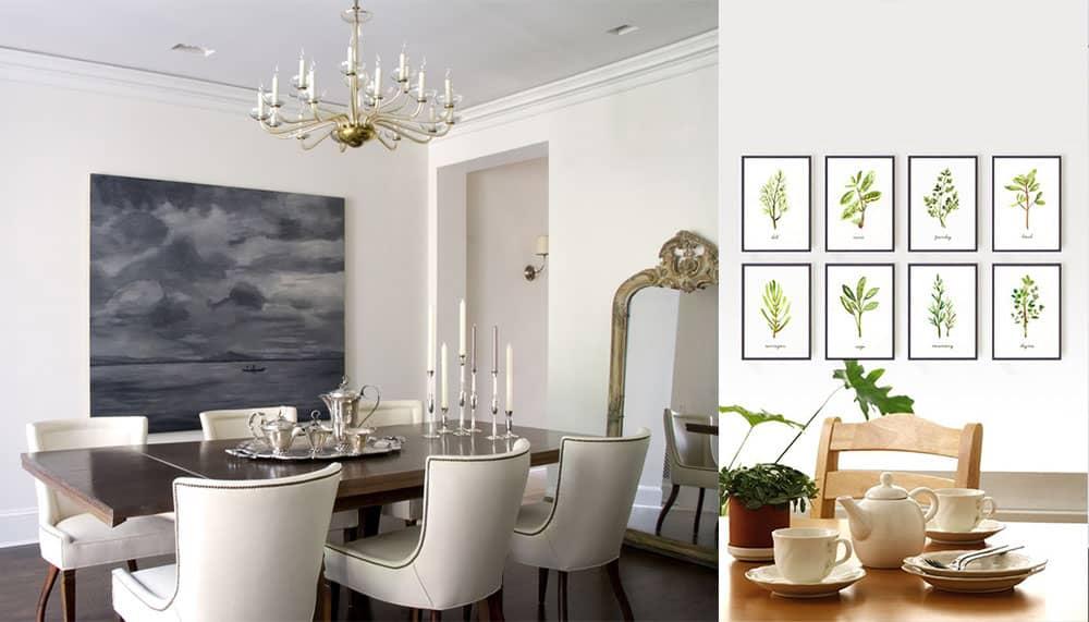 Картины украшение стен столовой живописью дизайн интерьера столовой
