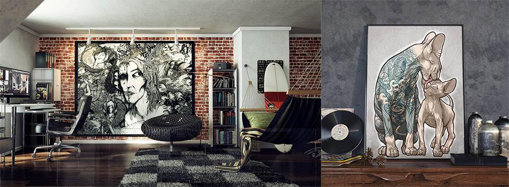 Картины в стиле лофт дизайн гостиной комнаты