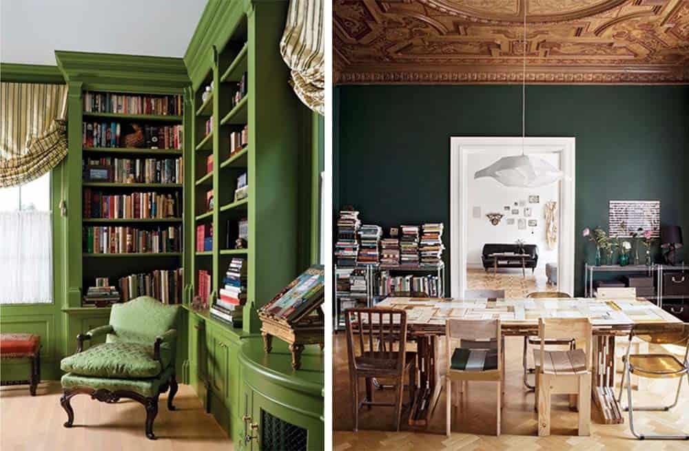 Зеленый офис в классическом стиле применение благородных приглушенных смешанных и темных оттенков
