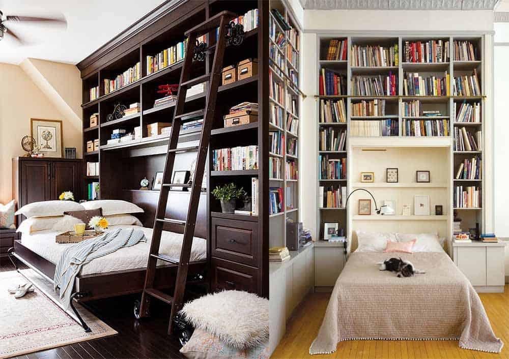 Книжные полки в спальне идеи интерьер спальни 2018
