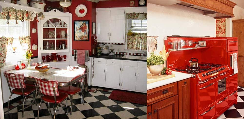 Красно-белая яркая ретро кухня Ретро кухня