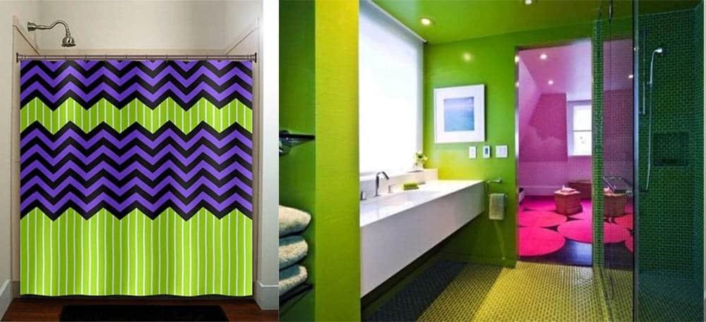 Лаймовый и фиолетовый в дизайне ванной идеи интерьера ванной комнаты