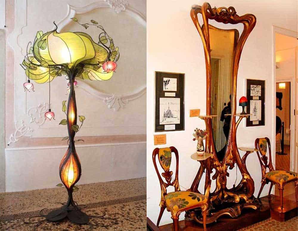 Яркие представители Ар Нуво Лампа и мебель интерьер гостиной комнаты