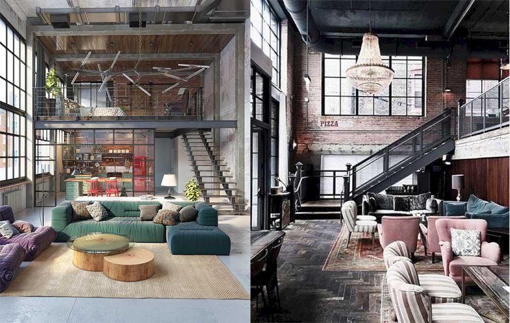 Лестница и цвета индустриальной гостиной Гостиная в стиле лофт