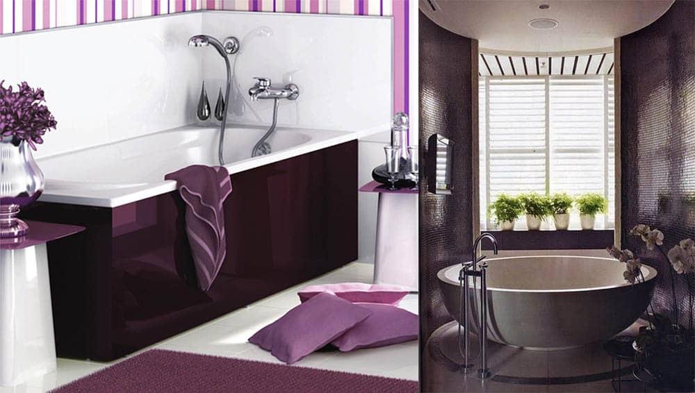 Маленькая ванная в темно-фиолетовых тонах Фиолетовая ванная