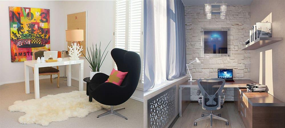 Материалы и их комбинации в доманшем офисе дизайн интерьера офиса
