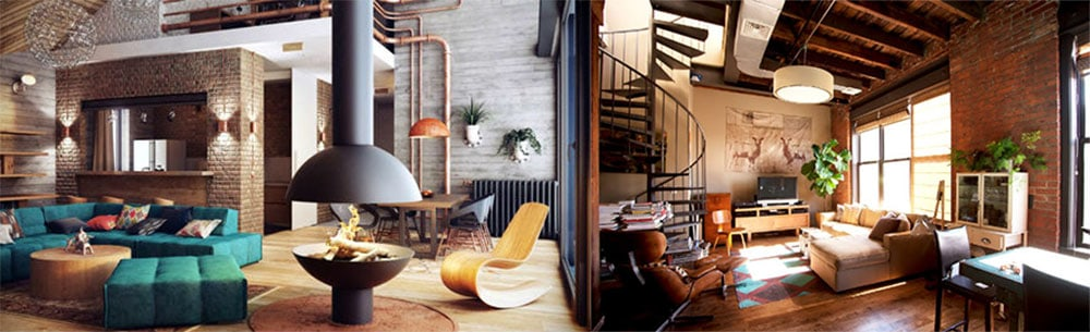 Мебель в гостиной в стиле лофт дизайн гостиной комнаты