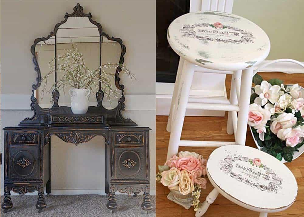 Особенная мебель антикварная и вручную искусственно состаренная Шебби шик в интерьере