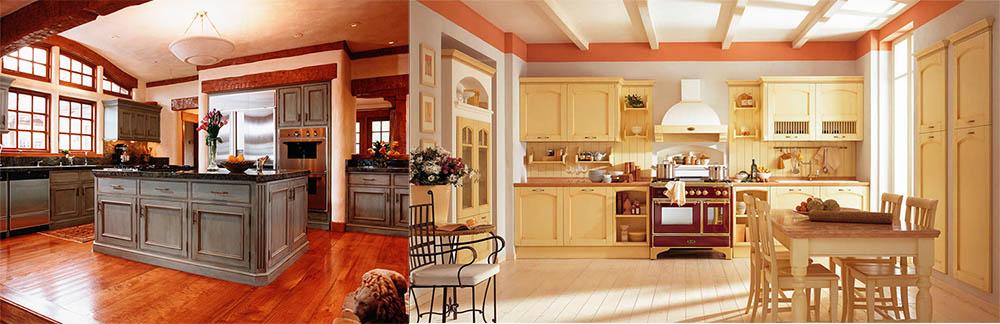 Мебель с другим цветом столешницы и акцентом на плиту идеи дизайна кухни
