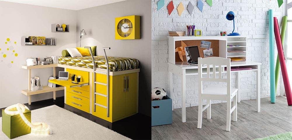 Мебель-трансформер и обыкновенная парта для комнаты ребенка дизайн детской 2018