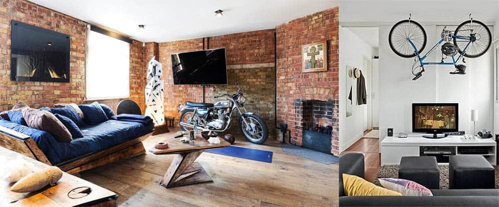 Мотоцикл и велосипед как декоративные элементы в гостиной в стиле лофт дизайн гостиной комнаты
