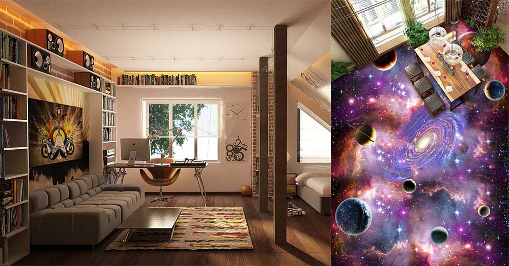 Напольное покрытие для подростковой комнаты ламинат и наливной 3D пол дизайн подростковой комнаты