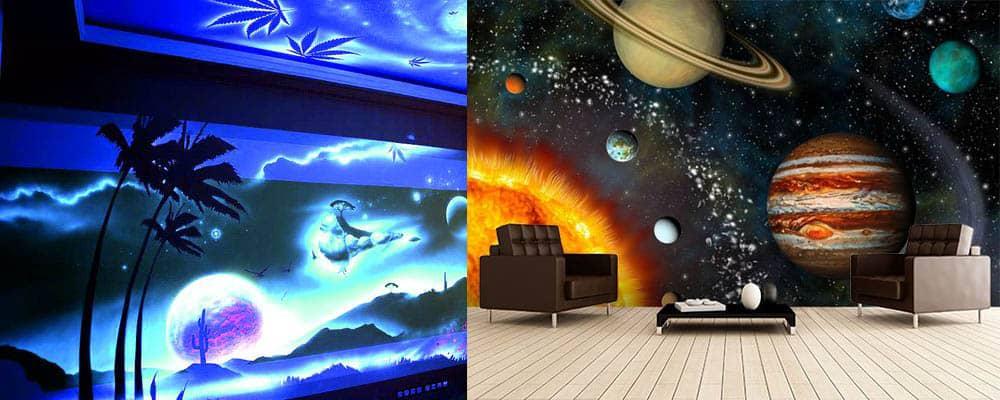 Космическое оформление стен и потолка дизайн подростковой комнаты