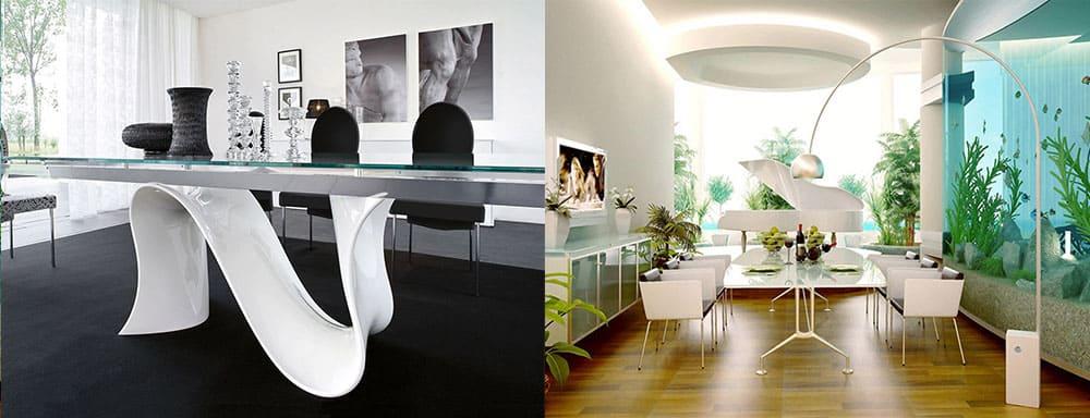Необычные столы неординарные формы ножек и комбинации материалов дизайн интерьера столовой