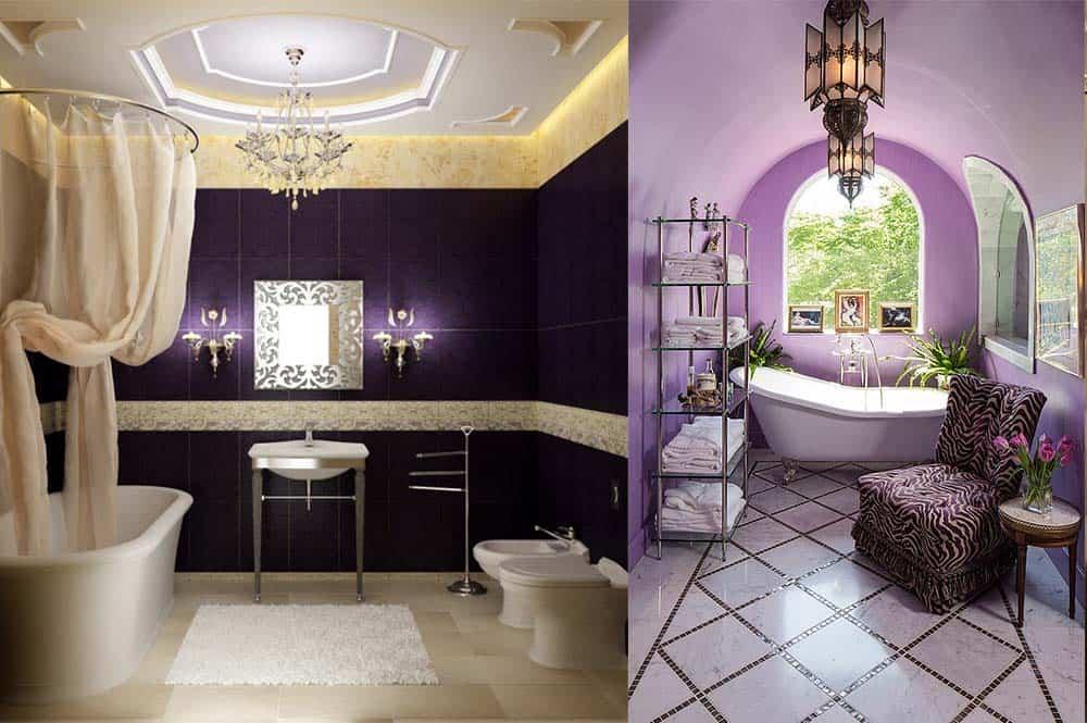 Неоклассицизм и ар-нуво в фиолетовой ванной идеи интерьера ванной комнаты
