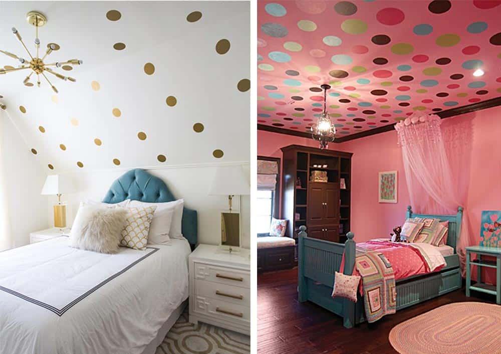 Оформление потолка и стен в горошек виниловыми наклейками дизайн подростковой комнаты
