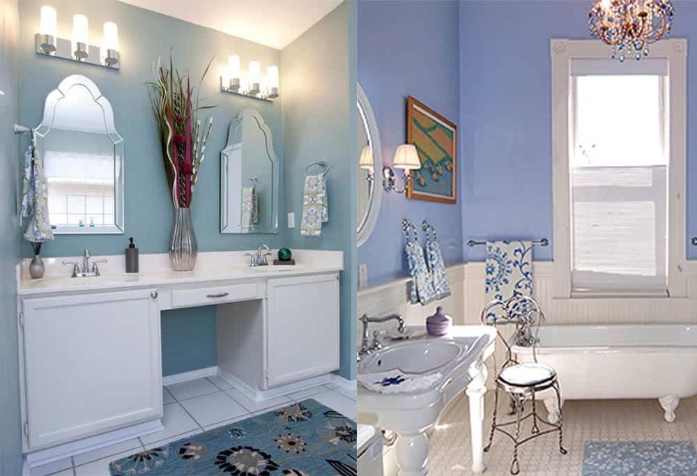 Пастельные тона синего лавандовый Синяя ванная
