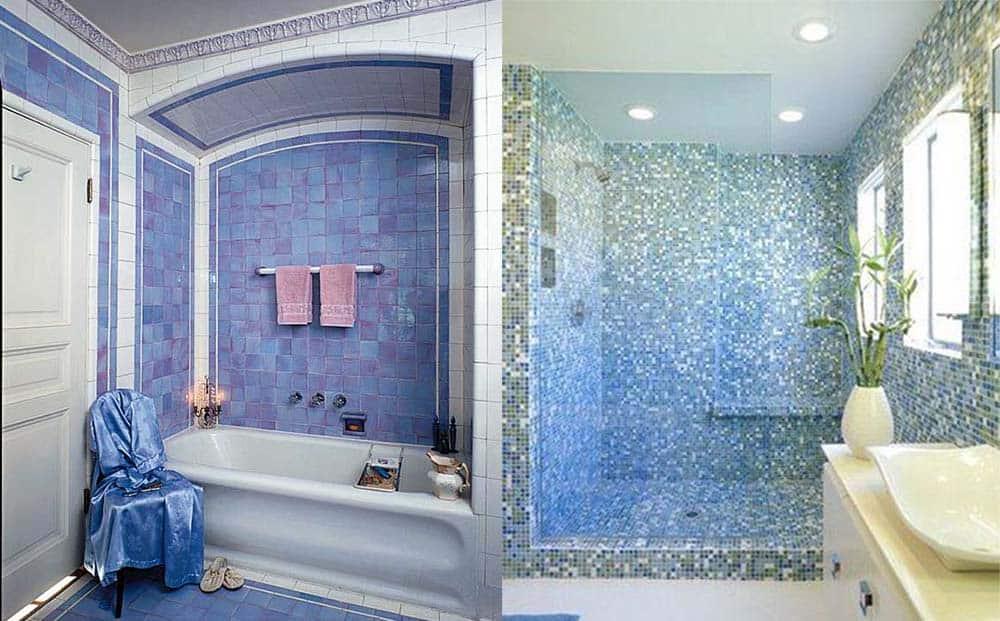 Переливающаяся плитка в голубой ванной Синяя ванная