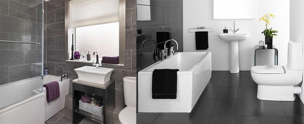 Однотонные полотенца одинаковых цветов для маленькой ванной идеи дизайна ванной