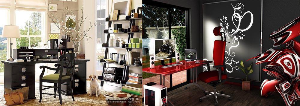 Популярные стильные сочетания эко и красно-черный интерьер кабинета